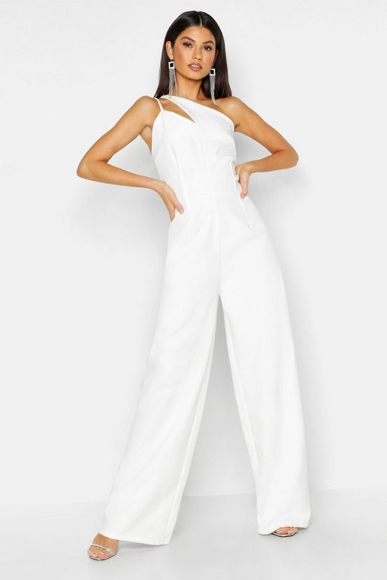 Woven One Shoulder Jumpsuit, White, ЖЕНСКОЕ