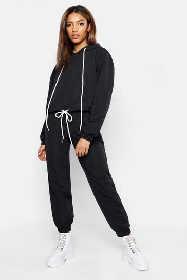 Womens Black Brushed Shellsuit Tracksuit