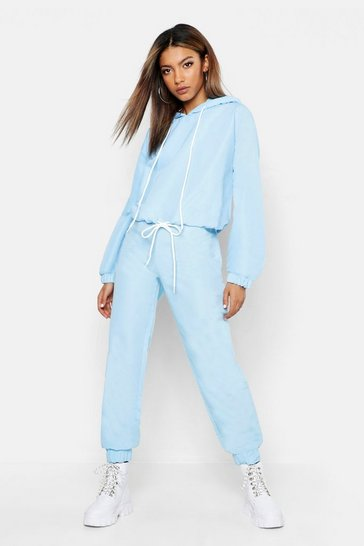 Womens Blue Brushed Shellsuit Tracksuit