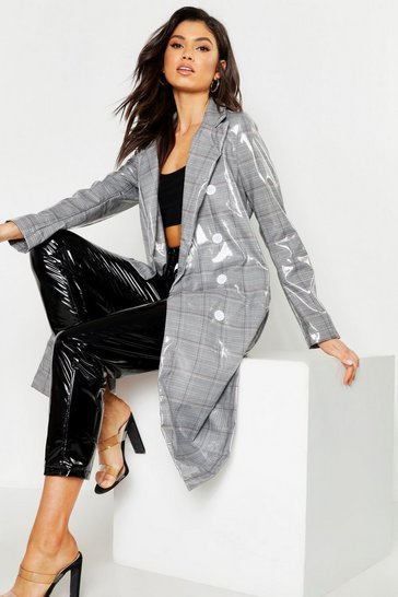 Womens Grey Patent Check Trench Coat
