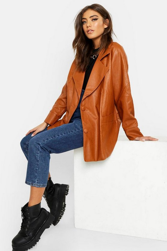 Tan Belted Wrap Faux Leather Jacket