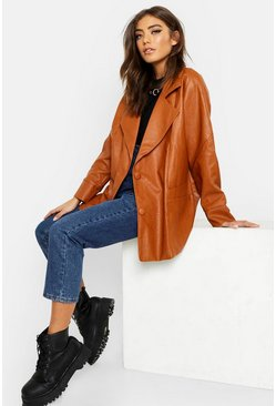 Womens Tan Belted Wrap Faux Leather Jacket