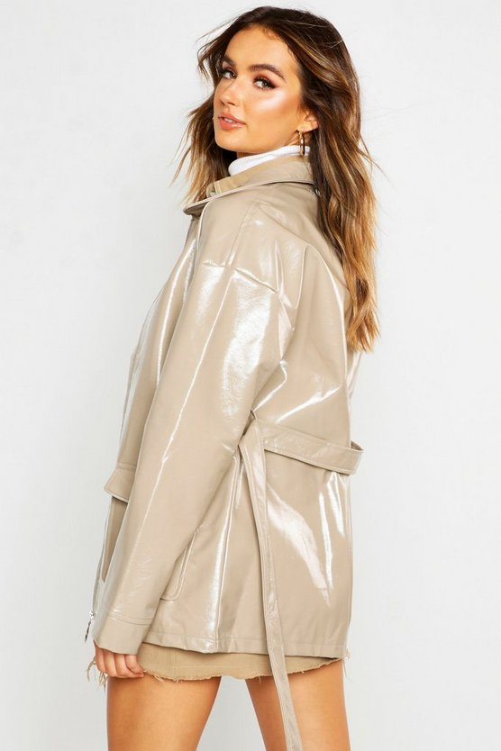 Patent Belted Faux Leather Jacket
