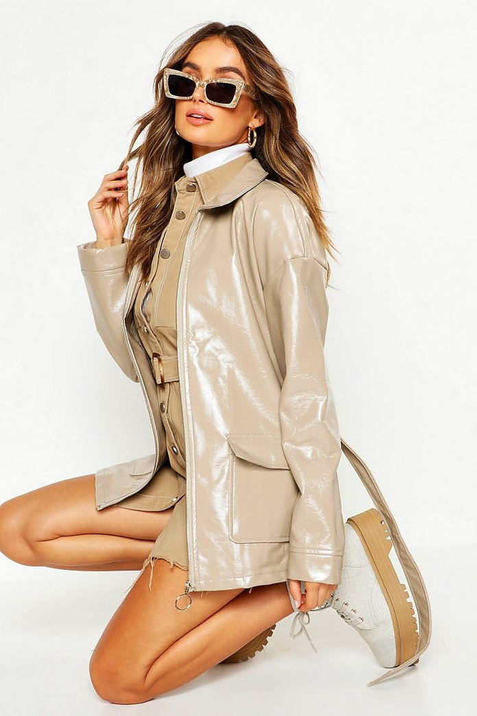 Patent Belted Faux Leather Jacket | boohoo