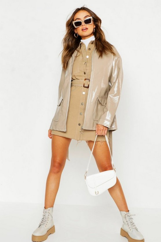 Womens Cream Patent Belted Faux Leather Jacket