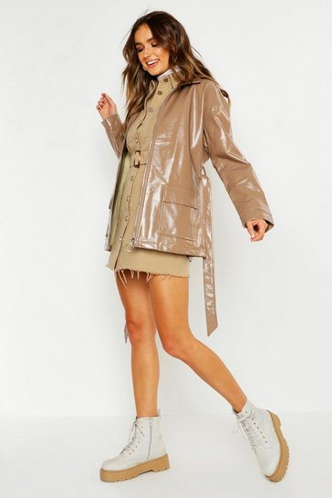 Womens Mocha Patent Belted Faux Leather Jacket