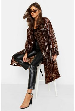 Womens Brown Leopard Vinyl Trench