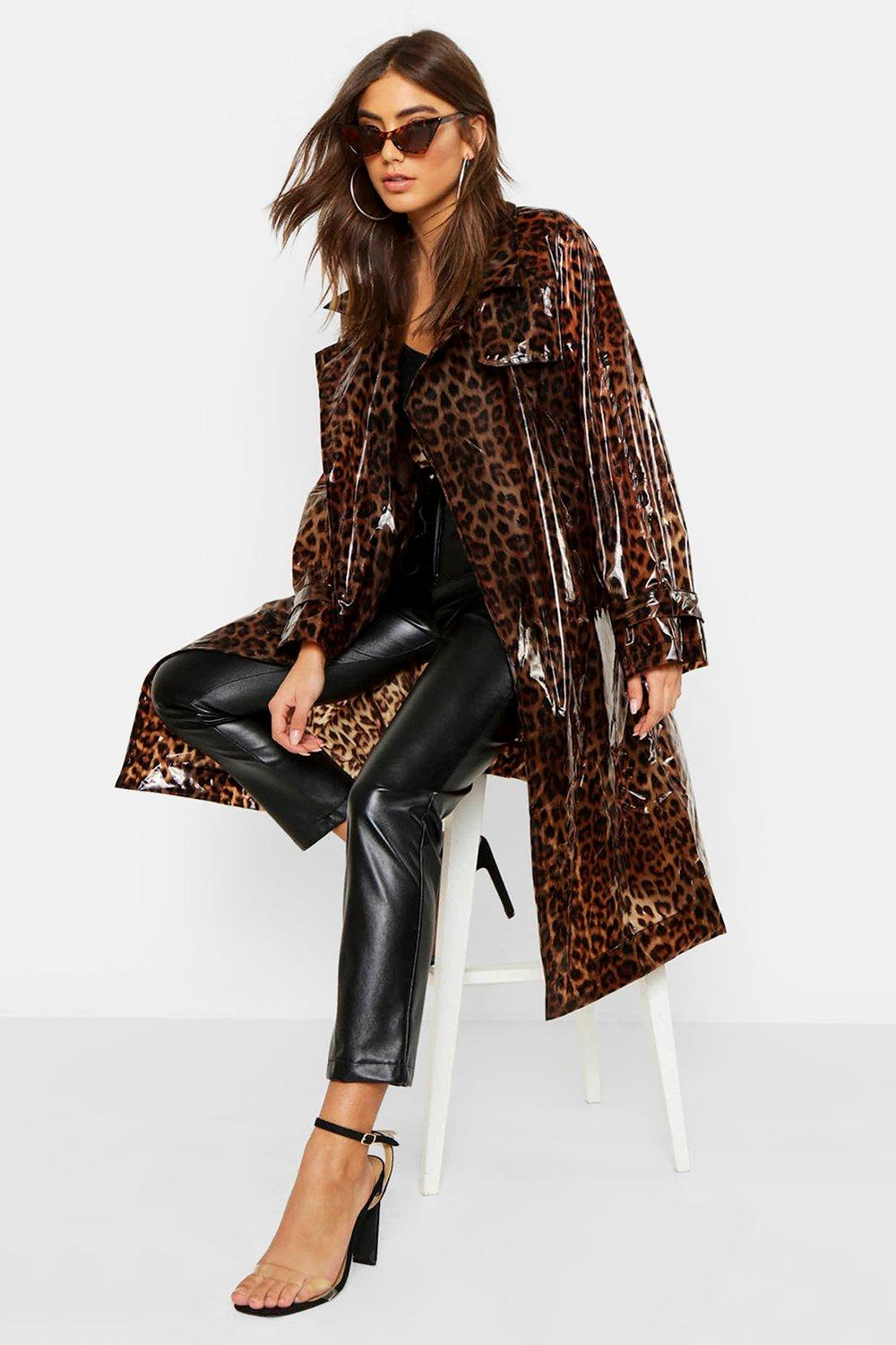 wide selection of colors 100% satisfaction guarantee elegant appearance Leopard Vinyl Trench | Boohoo