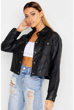 PU Trucker Jacket, Black, ЖЕНСКОЕ