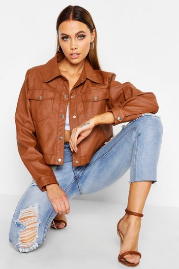 Womens Tan PU Trucker Jacket