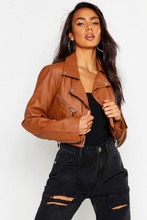 Womens Tan Crop PU Biker Jacket