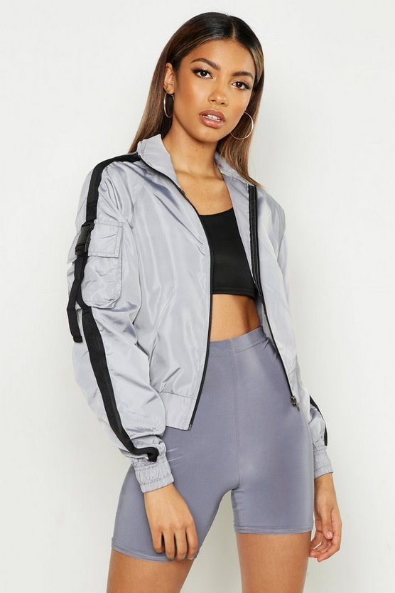 Womens Grey Buckle Detail Funnel Neck Windbreaker