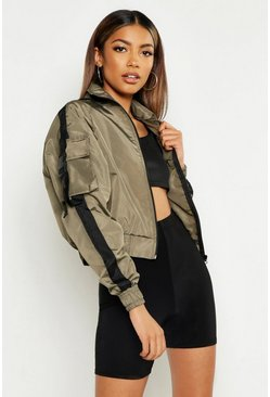 Buckle Detail Funnel Neck Windbreaker, Khaki, DAMEN