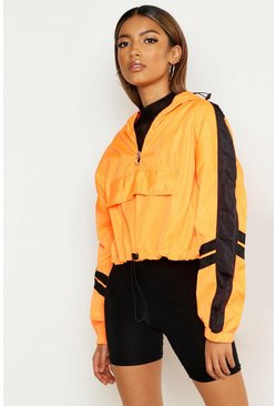 Womens Neon-orange Overhead Hooded Stripe Detail Windbreaker