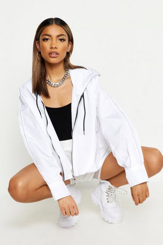 Womens White Piping Sports Jacket