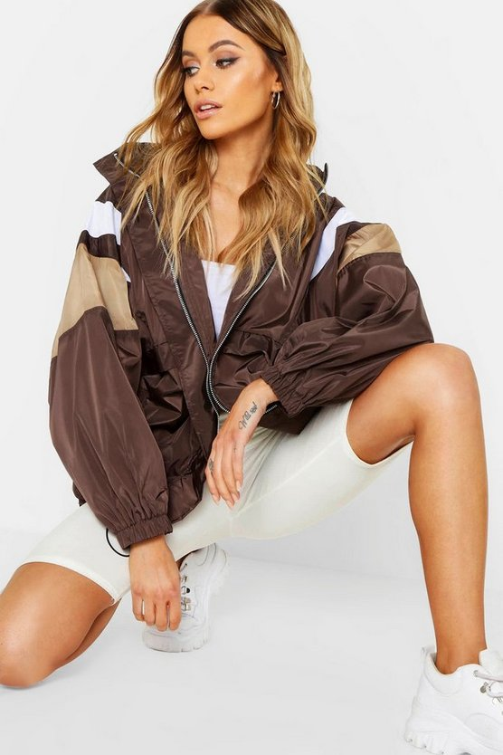 Womens Chocolate Hidden Hood Zip Through Panelled Windbreaker