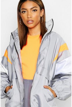 Womens Grey Hidden Hood Zip Through Panelled Windbreaker