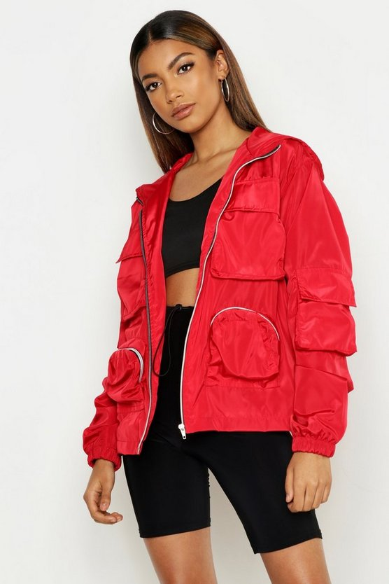 Womens Red Double Pocket Hooded Sports Jacket