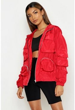 Double Pocket Hooded Sports Jacket, Red, FEMMES
