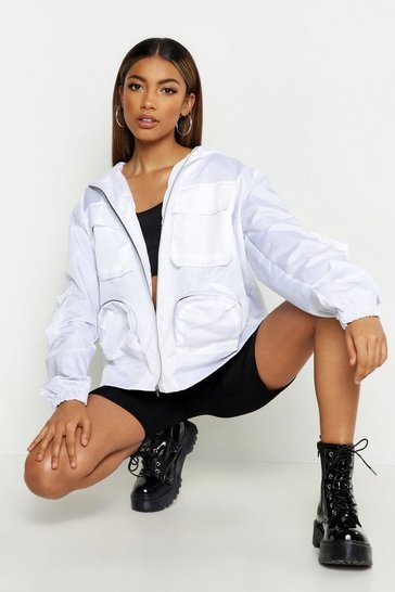 Womens White Double Pocket Hooded Sports Jacket