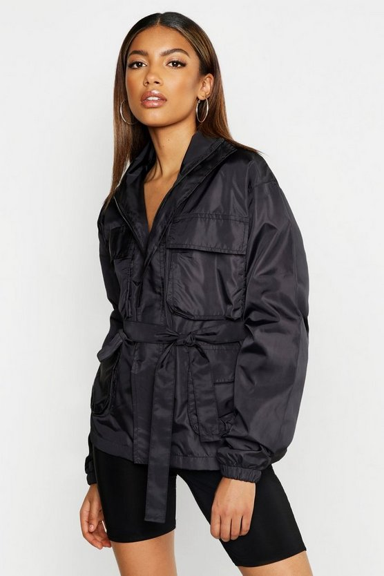 Womens Black Belted Double Pocket Sports Jacket