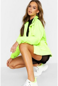 Womens Neon-yellow Belted Double Pocket Sports Jacket
