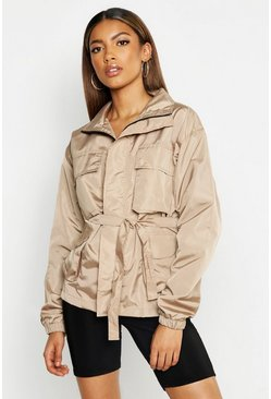 Womens Stone Belted Double Pocket Sports Jacket
