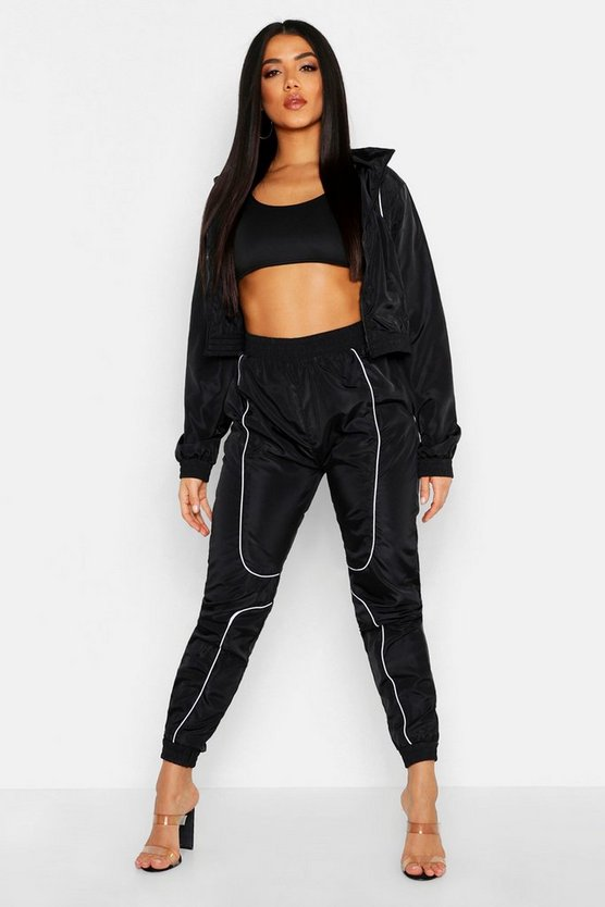 Brushed Shellsuit Piping Detail Tracksuit, Black, MUJER