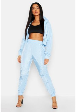 Womens Blue Brushed Shellsuit Piping Detail Tracksuit