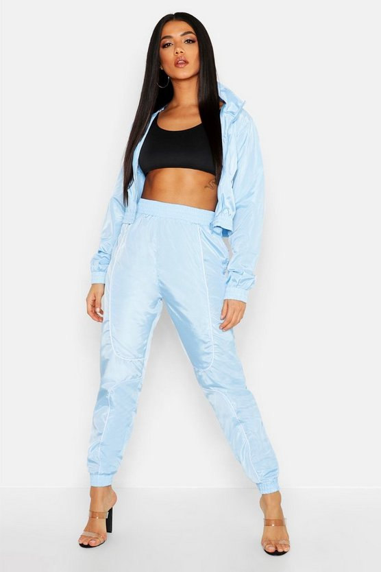 Brushed Shellsuit Piping Detail Tracksuit, Blue, MUJER