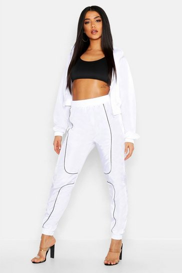 Womens White Brushed Shellsuit Piping Detail Tracksuit