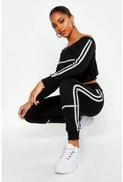 Womens Black Off The Shoulder Piping Detail Tracksuit
