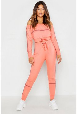 Womens Coral Off The Shoulder Piping Detail Tracksuit