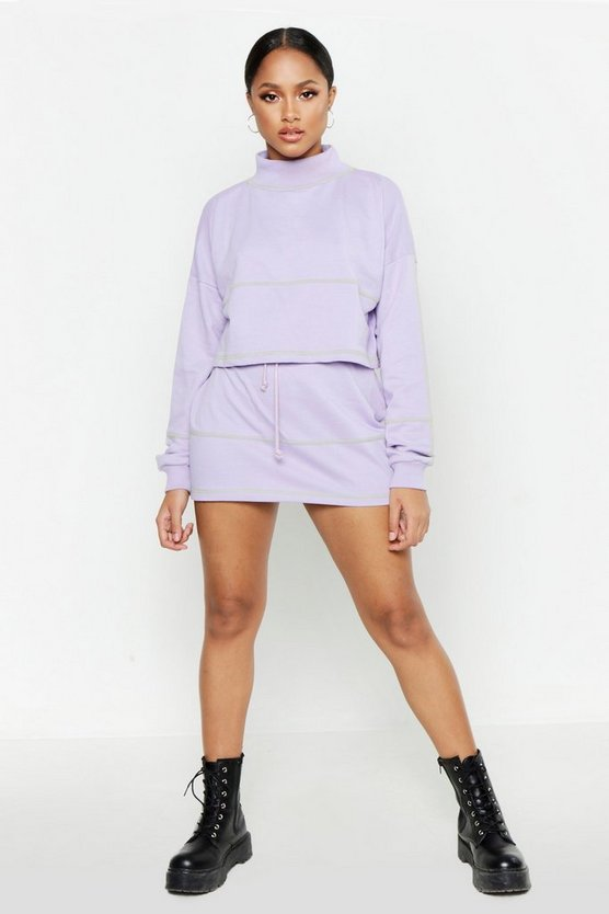 Contrast Stitch Cropped Sweat & Mini Skirt Set, Lilac, MUJER