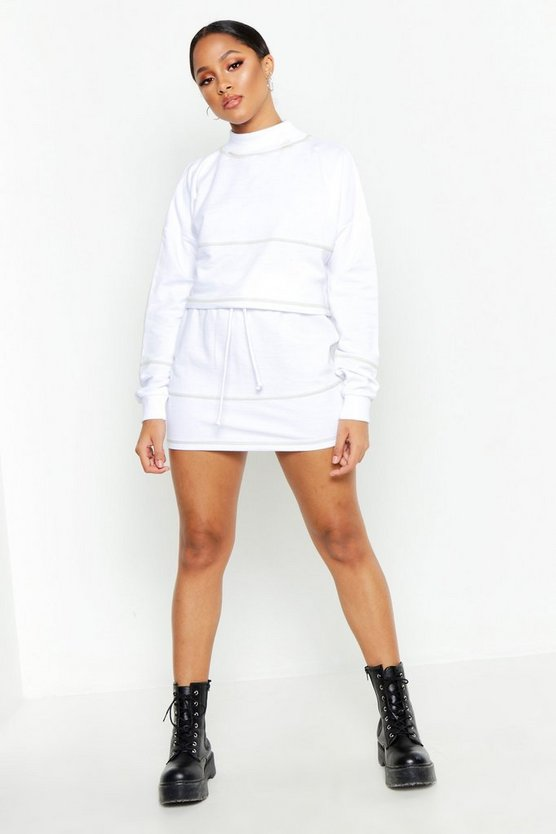 White Contrast Stitch Cropped Sweat & Mini Skirt Set