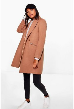 Womens Camel Zip Pocket Tailored Coat