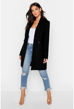 Double Breasted Coat, Black, Femme