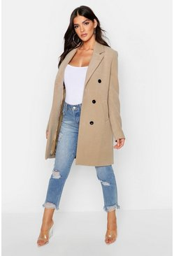 Double Breasted Coat, Camel, Femme