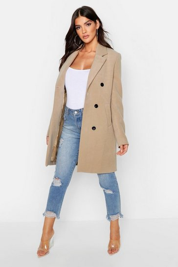 Womens Camel Double Breasted Coat