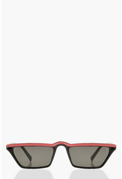 Neon Stripe Rectangle Slim Sunglasses, Neon-orange, MUJER