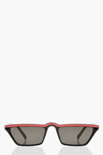 Womens Neon-orange Neon Stripe Rectangle Slim Sunglasses