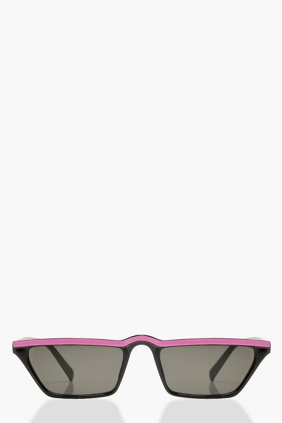 Womens Neon-pink Neon Stripe Rectangle Slim Sunglasses