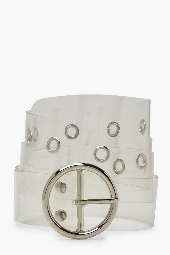 Circle Buckle Clear Belt
