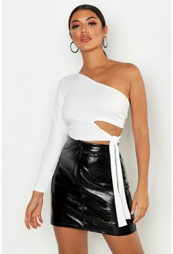 Womens White Croc Cut Out One Shoulder Top