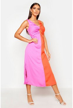 Satin Contrast Twist Front Dress, Fushia