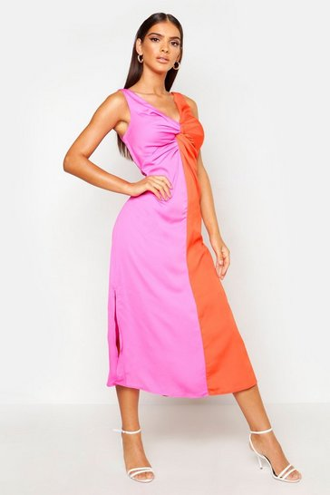 Womens Fushia Satin Contrast Twist Front Dress