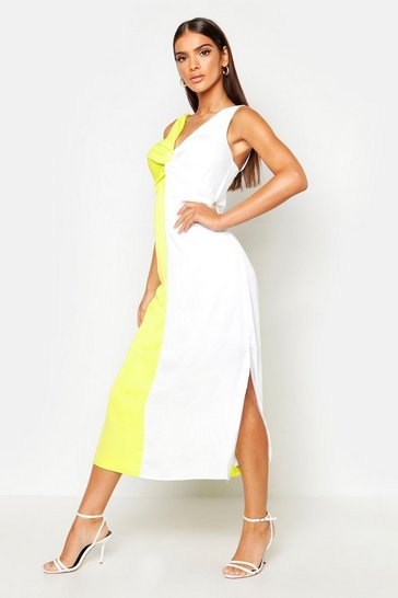 Yellow Satin Contrast Twist Front Dress