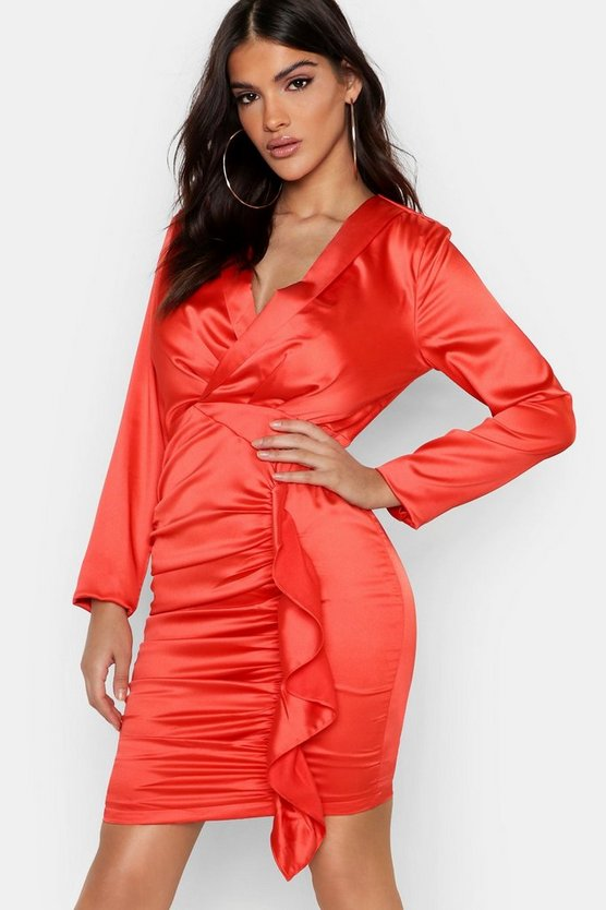 Satin Ruched Front Detail Dress