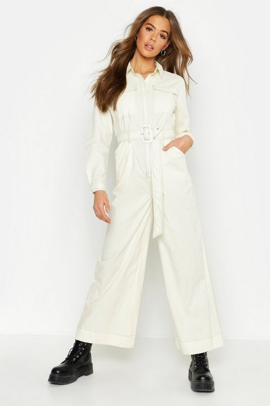 Ecru Linen Contrast Stitch Pocket Shirt Jumpsuit