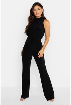 Black High Neck Ruched Jumpsuit